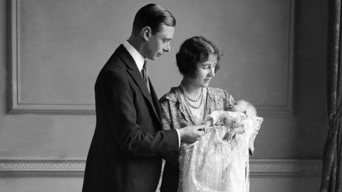 Elizabeth was born April 21, 1926, in London. She is held here by her mother, also named Elizabeth. Her father would later become King George VI.