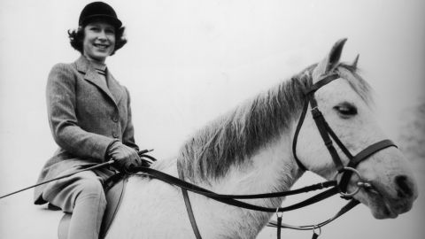 Elizabeth rides a horse in Windsor, England, in 1940. Her love of horses has been well documented.