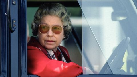 Elizabeth drives her Land Rover during the Royal Windsor Horse Show in May 1992.