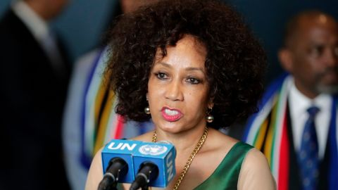 South African Minister for International Relations and Cooperation Lindiwe Sisulu at the UN Headquarters in New York on June 8.