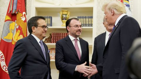 US President Donald Trump shake hands with Mexico's Foreign Minister Luis Videgaray Caso as he arrives to speak on trade in the Oval Office of the White House in Washington, DC on August 27.