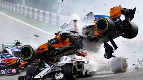 """Fernando Alonso's spectacular crash at Sunday's Belgian Grand Prix reignited the debate around driver safety, specifically the new """"halo."""" Built around the cockpit to protect drivers from debris, it appeared to come to the rescue of Charles Leclerc as Alonso's airborne car bounced off it and over him."""