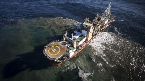 In Namibian waters off the west coast of Southern Africa, enormous mining vessels suck diamonds from the seabed.