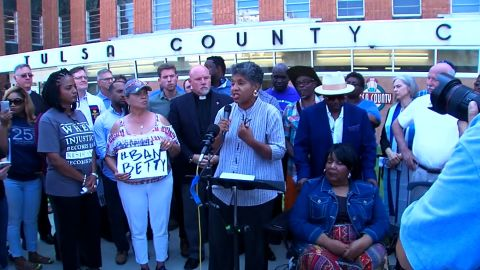 """A group protests Monday at a Tulsa courthouse over a law enforcement course on the """"Ferguson effect."""""""
