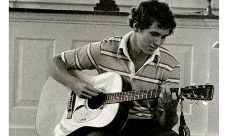 Mike Pence plays guitar inside Brown Memorial Chapel at Hanover College.