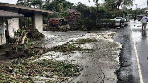 Flooding near Hilo, Hawaii, Friday.