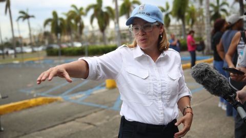 SAN JUAN, PUERTO RICO - SEPTEMBER 30:  San Juan Mayor Carmen Yulin Cruz speaks to the media as she arrives at the temporary government center setup at the Roberto Clemente stadium in the aftermath of Hurricane Maria on September 30, 2017 in San Juan, Puerto Rico.  Puerto Rico experienced widespread damage including most of the electrical, gas and water grid as well as agriculture after Hurricane Maria, a category 4 hurricane, passed through.  (Photo by Joe Raedle/Getty Images)