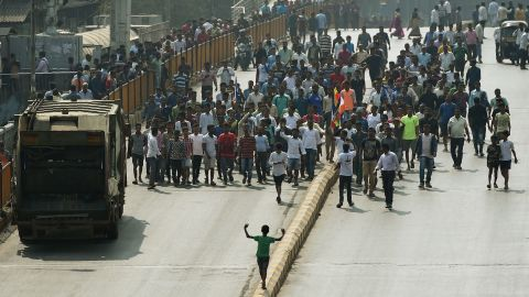 Republican Party of India members march on the streets of Mumbai on January 3 during widespread protest after the death of a young Dalit activist in Maharashtra state's Pune district.