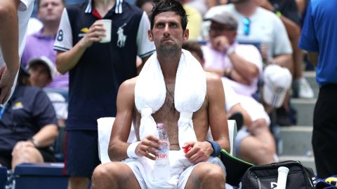 """Novak Djokovic said he was """"survival mode"""" for most of his second-round match, played in scorching heat and humidity at the US Open in New York."""