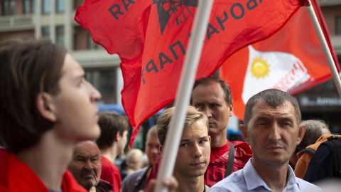 Communist Party supporters protest over proposed retirement age increases in Moscow on August 21.