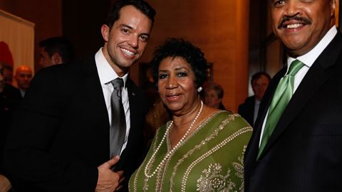 Bryan Eure, Aretha Franklin and Willie White at Eure's wedding in 2011.