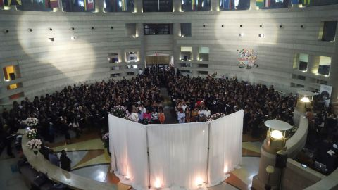 Hundreds of members of Delta Sigma Theta pay their respects to Franklin on Tuesday. Franklin was made an honorary member of the sorority in 1992.