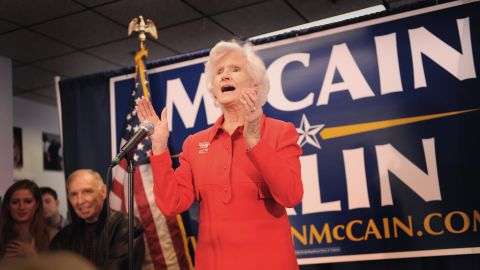 Roberta McCain, mother of then-Republican presidential candidate Senator John McCain talks to volunteers during a rally.