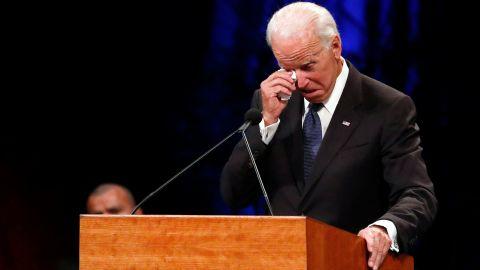 Former Vice President Joe Biden wipes a tear away while giving a tribute during memorial service at North Phoenix Baptist Church for Sen. John McCain, R-Ariz., on Thursday, Aug. 30, 2018, in Phoenix. (AP Photo/Jae C. Hong)
