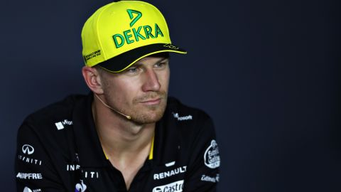 MONZA, ITALY - AUGUST 30:  Nico Hulkenberg of Germany and Renault Sport F1 looks on in the Drivers Press Conference during previews ahead of the Formula One Grand Prix of Italy at Autodromo di Monza on August 30, 2018 in Monza, Italy.  (Photo by Lars Baron/Getty Images)