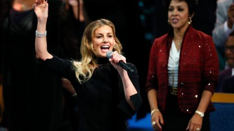 """Faith Hill was the first celebrity performer to sing during Franklin's funeral on Friday. Hill performed """"What a Friend We Have in Jesus."""""""