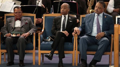 From left, Louis Farrakhan, the Rev. Al Sharpton and the Rev. Jesse Jackson attend Franklin's funeral.