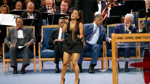 """Ariana Grande performs Franklin's hit """"Natural Woman"""" during Franklin's funeral service on Friday."""