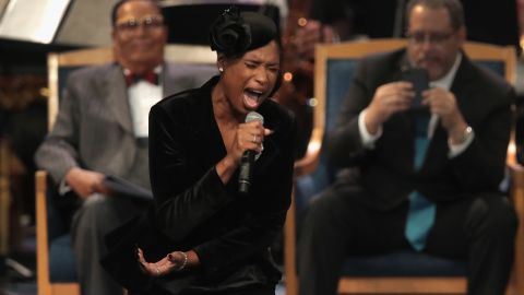 """Jennifer Hudson sings """"Amazing Grace"""" at Franklin's funeral on Friday."""