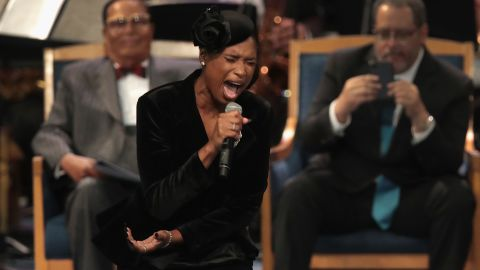 DETROIT, MI - AUGUST 31:  Jennifer Hudson performs at the funeral for Aretha Franklin at the Greater Grace Temple on August 31, 2018 in Detroit, Michigan. Franklin, 76, died at her home in Detroit on August 16.  (Photo by Scott Olson/Getty Images)