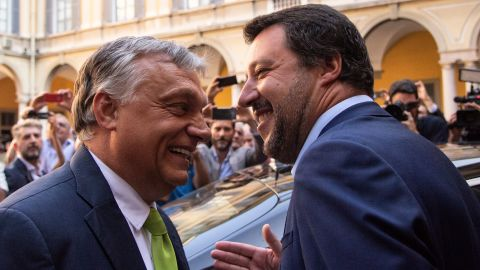 Italy's Interior Minister Matteo Salvini (R) embraces Hungary's Prime Minister Viktor Orban ahead of a meeting in Milan on August 28, 2018. (Photo by MARCO BERTORELLO / AFP)        (Photo credit should read MARCO BERTORELLO/AFP/Getty Images)