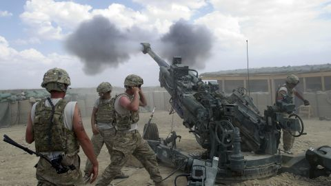 US soldiers from the 2nd Platoon of Alpha 177 Fa fire a 155mm artillery unit at Forward Operating Base (FOB) Kuschamond on September 13, 2011. The The Taliban are leading a bloody 10-year insurgency in Afghanistan. There are around 140,000 foreign troops in the country.  AFP PHOTO/Johannes EISELE / AFP PHOTO / JOHANNES EISELE        (Photo credit should read JOHANNES EISELE/AFP/Getty Images)