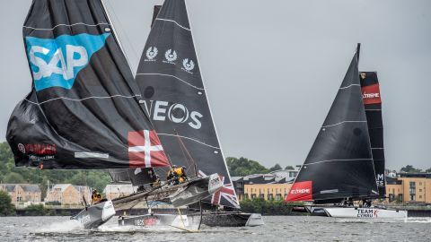 The five-man strong Extreme Sailing crew are directed by the helmsman and have to work closely together as they navigate the boat around a very compact course.