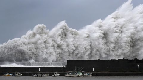 High waves hit breakwaters at a port of Aki, Kochi prefecture, western Japan, Tuesday Sept. 4, 2018. Powerful Typhoon Jebi is approaching Japan's Pacific coast and forecast to bring heavy rain and high winds to much of the country. (Ichiro Banno/Kyodo News via AP)