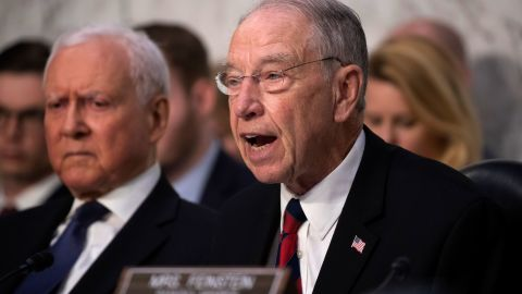 Senate Judiciary Committee Chairman Chuck Grassley, R-Iowa, joined at left by Sen. Orrin Hatch, R-Utah, speaks during the confirmation hearing of President Donald Trump's Supreme Court nominee, Brett Kavanaugh, on Capitol Hill in Washington, Tuesday, Sept. 4, 2018. (AP Photo/J. Scott Applewhite)