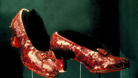 """UNITED STATES - JANUARY 01:  red ruby shoes worn by Judy Garland as Dorothy in """"The Wizard of Oz"""" on display at Smithsonian Museum.  (Photo by Henry Groskinsky/The LIFE Images Collection/Getty Images)"""