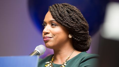 BOSTON, MA - SEPTEMBER 04:  Ayanna Pressley, Boston City Councilwomen and House Democratic candidate, gives a victory speech at her primary night gathering after her opponent Mike Capuano conceded on September 4, 2018 in Boston, Massachusetts. Pressley beat Capuano, a 10-term incumbent, in Massachusetts' 7th District.  (Photo by Scott Eisen/Getty Images)