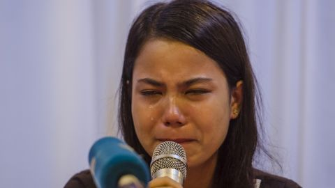 Chit Su Win, wife of detained Reuters journalist Kyaw Soe Oo, breaks down while speaking at a press conference in Yangon on September 4, 2018.