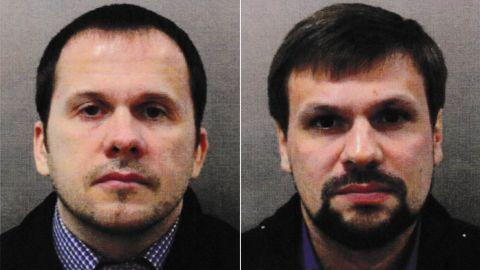 Salisbury attack suspects Alexander Petrov, left, and Ruslan Boshirov.