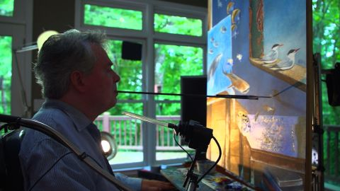 """Thomas working on a piece titled """"Galapagos."""""""