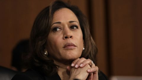 U.S. Sen. Kamala Harris (D-CA) delivers listens as Supreme Court nominee Judge Brett Kavanaugh appears for his confirmation hearing before the Senate Judiciary Committee in the Hart Senate Office Building on Capitol Hill September 4, 2018 in Washington, DC.