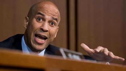 UNITED STATES - SEPTEMBER 6: Sen. Cory Booker, D-N.J., threatens to release committee confidential documents during the start of day three of Brett Kavanaugh's confirmation hearing to be Associate Justice of the Supreme Court in the Senate Judiciary Committee on Thursday morning, Sept. 6, 2018. (Photo By Bill Clark/CQ Roll Call)
