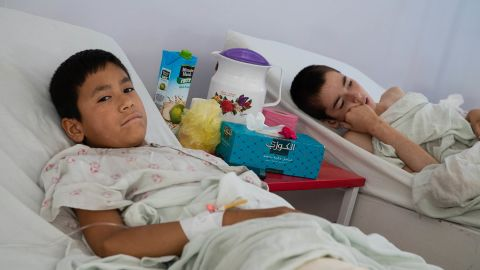 Two young boys recover in the children's ward of Emergency's Surgical Center in Kabul. Around 30% of all patients the Italian NGO Emergency treats at the specialized hospital are children.