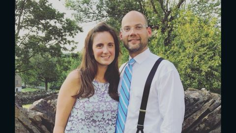 Whitney Austin, seen in this undated photo with her husband, Waller, was wounded in Thursday's shooting at the Fifth Third Center in Cincinnati.