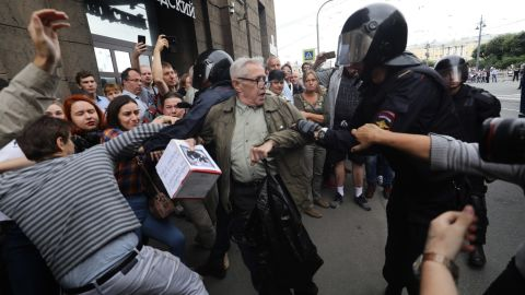Russian independent monitoring group OVD-Info said Sunday that police had detained at least 839 people in nationwide protests against a proposed government pension overhaul Sunday, with the largest number of detentions in Russia's second city of St. Petersburg.