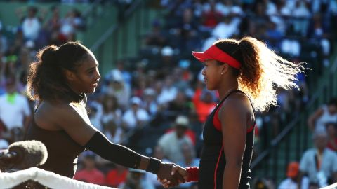 - In March <strong>2018</strong>, Osaka was pitted against her tennis hero for the first time, in the first round of the Miami Open. It was Serena's fourth comeback match since giving birth and Osaka ran away with a comfortable straight sets victory.