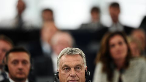 Orban at Tuesday's debate over Hungary at the European Parliament in Strasbourg, France.