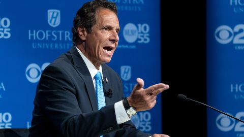 HEMPSTEAD, NY - AUGUST 29: New York Gov. Andrew Cuomo answers a question during a debate with primary opponent Cynthia Nixon at Hofstra University August 29, 2018 in Hempstead, New York. The debate is the only televised one between the two candidates before the primary on September 13.  (Photo by Craig Ruttle/Pool/Getty Images)