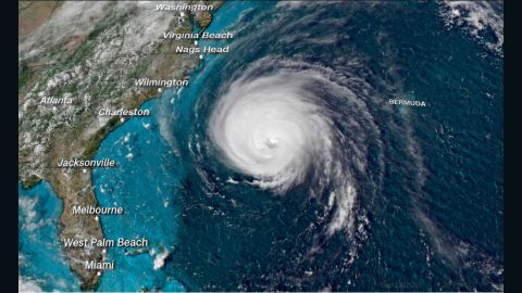 Hurricane Florence is shown in a satellite image from Wednesday afternoon.