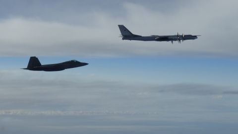 """Two NORAD F-22 """"Raptor"""" fighter jets positively identified and intercepted two Russian Tu-95 """"Bear"""" bombers at approximately 10 p.m. EDT Tuesday, September 11. The Russian bombers intercepted west of mainland Alaska were accompanied by two Russian Su-35 """"Flanker"""" figher jets.  the Russian aircraft remained in international airspace and at no time did the aircraft enter United States or Canadian sovereign airspace."""