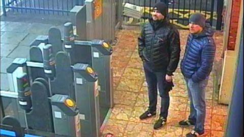 A CCTV screengrab shows Alexander Petrov and Ruslan Boshirov at Salisbury's train station, according to London's Metropolitan Police.