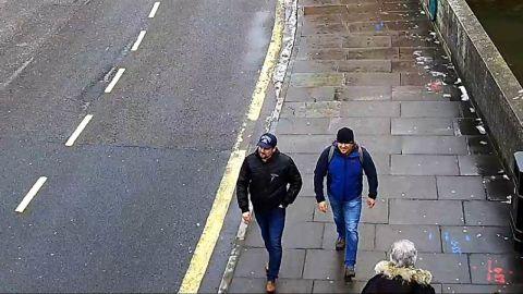 A CCTV screengrab shows Alexander Petrov and Ruslan Boshirov in Salisbury, according to London's Metropolitan Police.