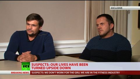 Russia's state-owned RT network on Thursday aired an interview with the two men suspected by UK authorities of poisoning former Russian spy Sergei Skripal and his daughter, one day after Russian President Vladimir Putin encouraged the suspects to speak to the media. In an interview with RT editor-in-chief Margarita Simonyan, two men who identified themselves as Alexander Petrov and Ruslan Boshirov said they had nothing to do with the poisoning of the Skripals in Salisbury, England, saying they had reached out to RT to tell their side of the story.