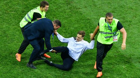 Verzilov is removed from the field  after protesting at the 2018 World Cup Finals in Moscow.