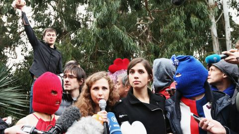 Nadezhda Tolokonnikova, center, pictured during a Pussy Riot news conference in Sochi in 2014.