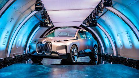 The BMW Vision iNext's grill hides sensors for autonomous driving.
